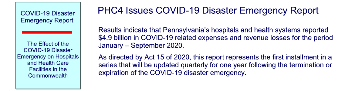 PHC4 Issues COVID-19 Disaster Emergency Report