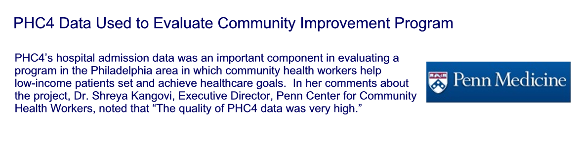 PHC4 Data Studied to Evaluate a Community Improvement Program
