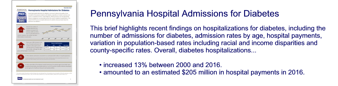 Pennsylvania Hospital Admissions for Diabetes